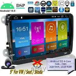 10.0 For Android Car Seat Vw Polo Golf Superb Leon Altea Tnt Dab + Obd 9dsp