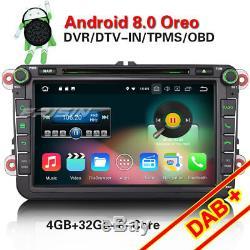 8-core Android 8.0 Dab + Car Radio Navi For Passat Golf 5 Sharan Touran Skoda Seat