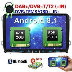 9 Android Gps Car Radio Dab + For Vw Passat Seat Golf 5 6 Jetta Touran Obd 2 + 32gb
