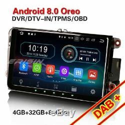 9android 8.0 Gps Dab + Car Radio For Vw Passat Seat Golf 5 6 Jetta Touran T5 Obd