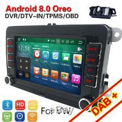 Android 8.1 Gps Dab + Car Radio For Vw Passat Touran Golf Eos Seat Skoda Polo Obd