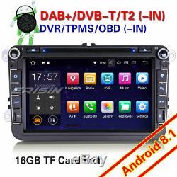 Android 8.1 Gps Dab + Freeview DVD Car Vw Passat Golf Polo Tiguan Eos Seat Skoda