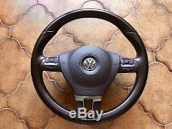 Leather Multifunction Steering Skoda Seat Vw Golf 6 Passat Polo Touran Airbag +