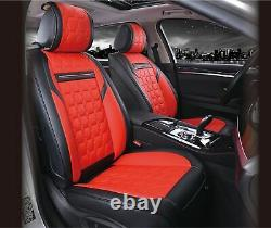 Universal Car Seat Covers Set Protectors Red Black Simili Leather Luxury