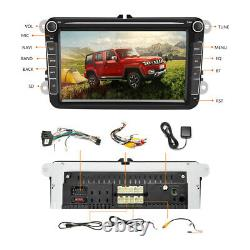 2DIN Autoradio 8 Android 8.1 Bluetooth GPS Wifi pour VW Skoda Seat+12LED Caméra