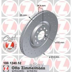 2 Zimmermann 312mm Disques de Frein Sport devant VW Golf 4 Bora Polo 9N Beetle