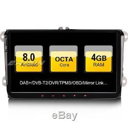 9Android 8.0 Autoradio GPS DAB+for Passat Golf 5/6 Touran Sharan EOS Seat Skoda