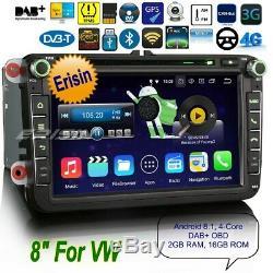 Android 8.1 DAB+Autoradio For VW PASSAT GOLF MK5 6 TOURAN Polo Fabia 4G 83645FR