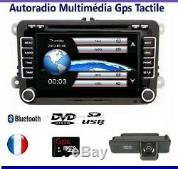 Autoradio bluetooth 2 DIN gps pour vw seat skoda octavia Léon Altea golf passat